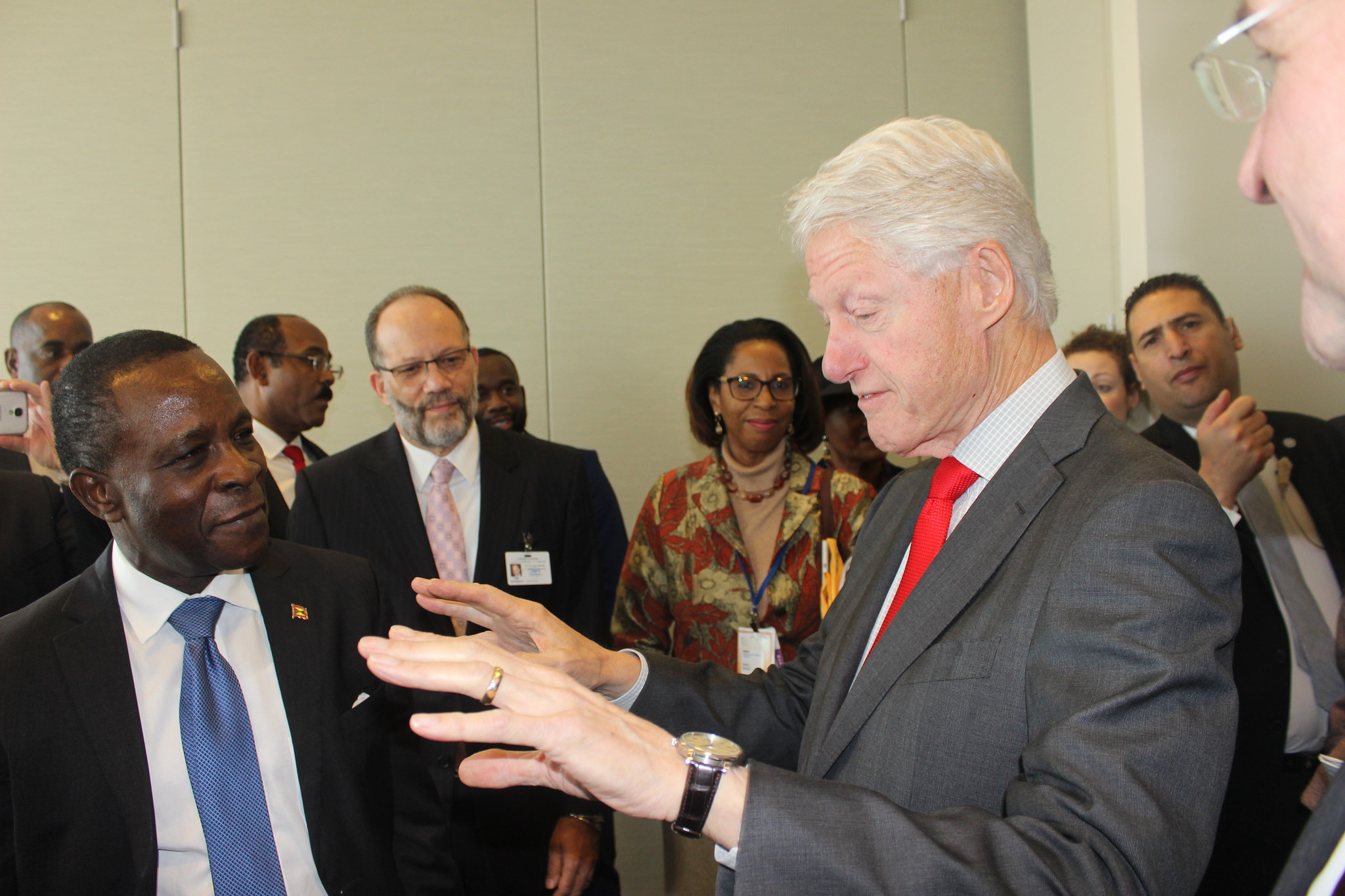 Former President of the United States, Bill Clinton interacting with CARICOM Heads of Government, Secretary-General and other officials on the sidelines of the CARICOM-UN High Level Pledging Conference at the UN Headquarters in New York