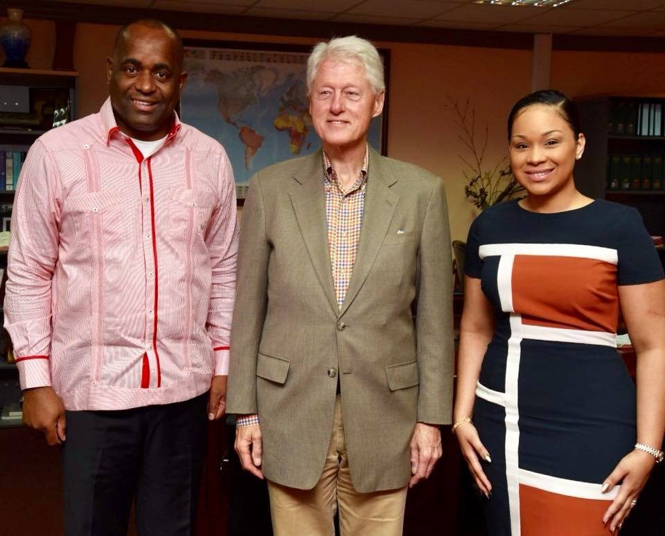 Prime Minister of Dominica, the Hon. Roosevelt Skerrit and his wife Melissa welcome former US President Bill Clinton