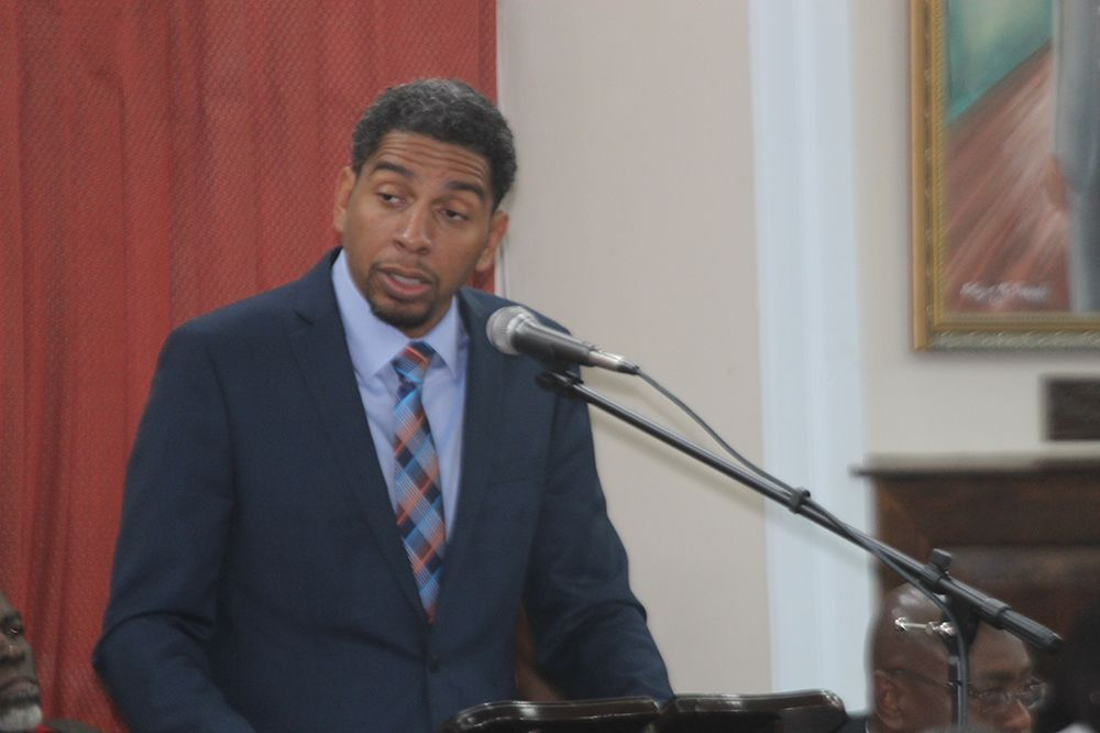 Minister of Finance Camillo Gonsalves speaking in Parliament on Monday, during the delivery of the 2018 budget address (Photo via SearchLight)