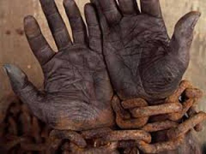 reparations image - open palms in chains